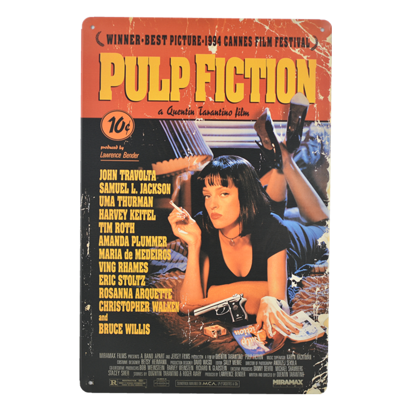 plaque en metal publicitaire vintage cinema pulp fiction